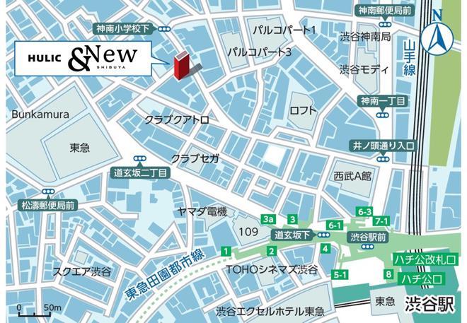 地図(MAP)「HULIC &New SHIBUYA」東京都渋谷区宇田川町 31-1