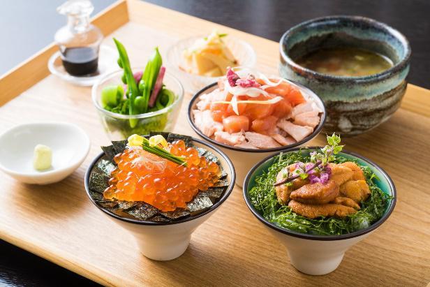 海鮮三種食べ比べ スープ、小鉢付き 平日¥3,900(税別)